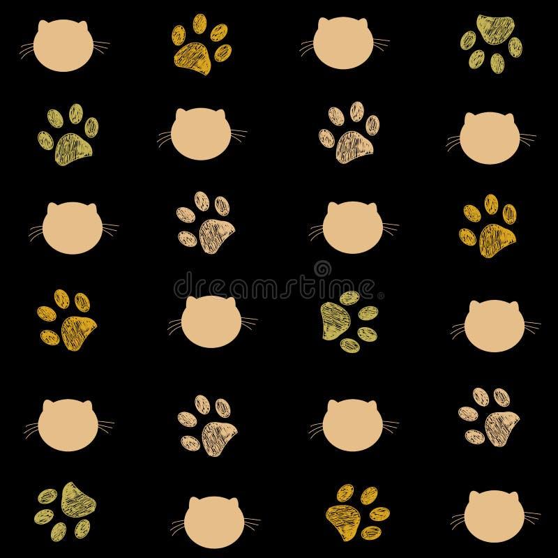 Μαύρο και χρυσό χρωματισμένο υπόβαθρο τυπωμένων υλών γατών και ποδιών διανυσματική απεικόνιση