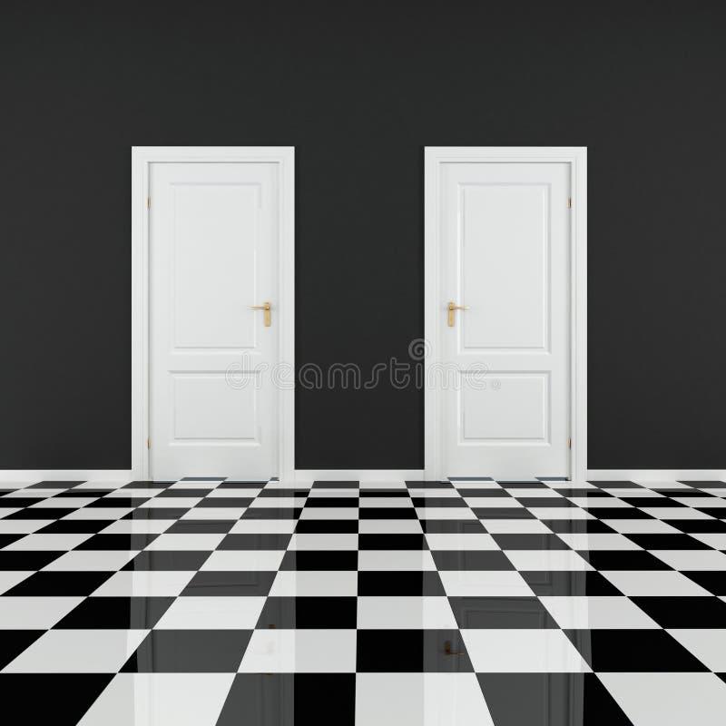 μαύρο κενό λευκό δωματίων ελεύθερη απεικόνιση δικαιώματος