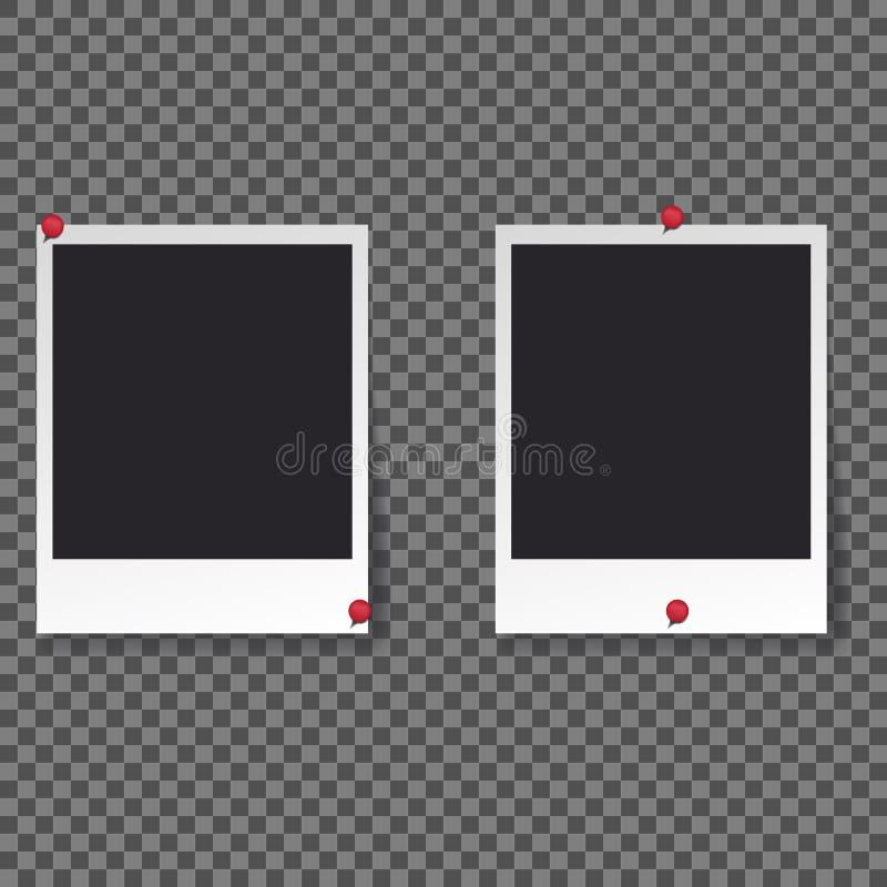 Μαύρο κενό σύνολο προτύπων φωτογραφιών Polaroid διανυσματική απεικόνιση