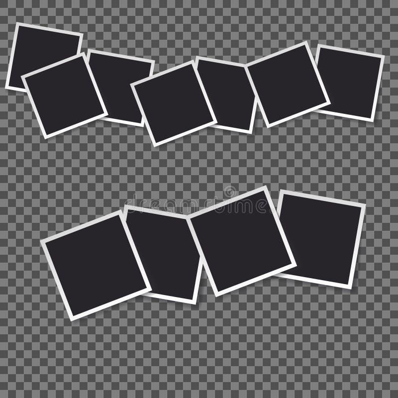 Μαύρο κενό σύνολο προτύπων φωτογραφιών Polaroid ελεύθερη απεικόνιση δικαιώματος