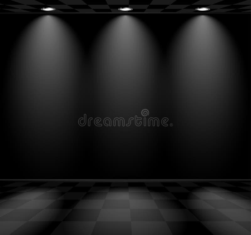 Μαύρο κενό δωμάτιο με το ελεγμένο πάτωμα απεικόνιση αποθεμάτων