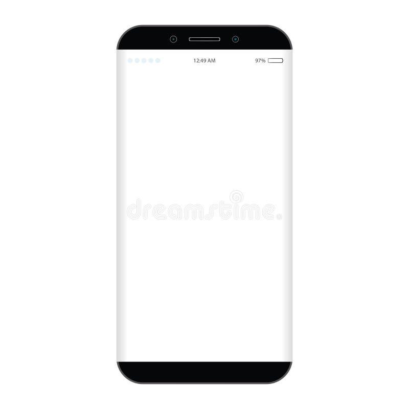 Μαύρο κινητό τηλέφωνο με τη μεγάλη άσπρη οθόνη, τηλέφωνο επιλογών, ρολόι και μπαταρία διανυσματικό eps10 δύναμης Κινητό τηλέφωνο  απεικόνιση αποθεμάτων