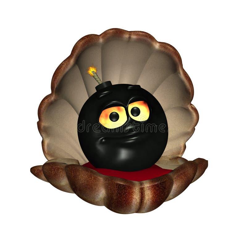 μαύρο κοχύλι μαργαριταριών βομβών διανυσματική απεικόνιση