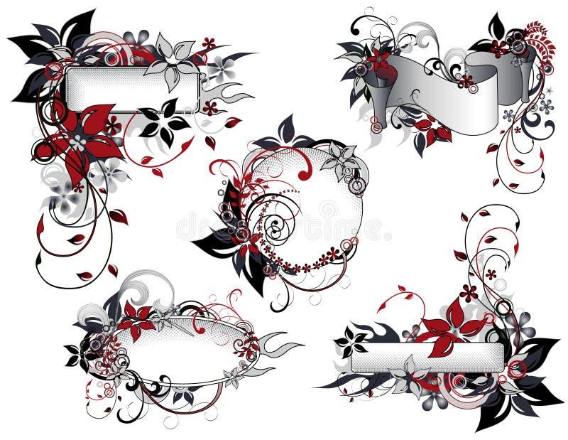μαύρο κόκκινο πλαισίων συλλογής floral απεικόνιση αποθεμάτων