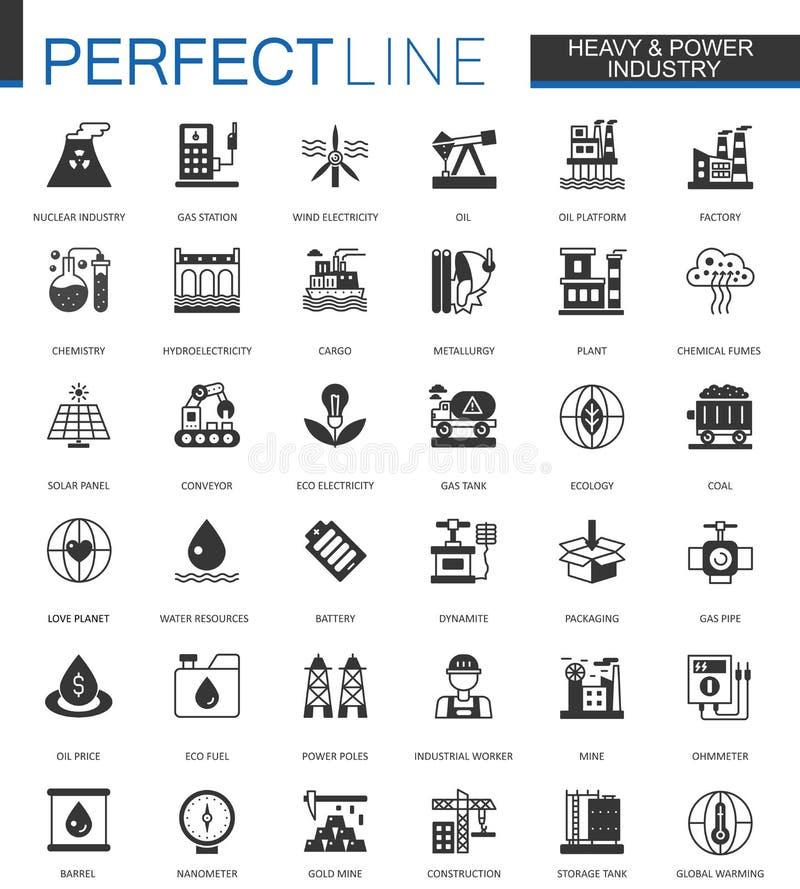 Μαύρο κλασικό πετρέλαιο, εικονίδια Ιστού βαριάς και βιομηχανίας δύναμης καθορισμένα απεικόνιση αποθεμάτων