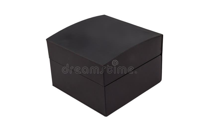 Μαύρο κλειστό jewellry κιβώτιο δώρων που απομονώνεται στο άσπρο υπόβαθρο στοκ φωτογραφία με δικαίωμα ελεύθερης χρήσης