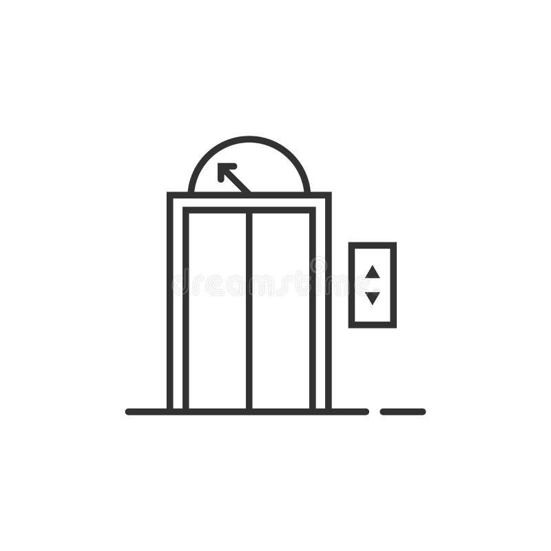 Μαύρο λεπτό εικονίδιο ανελκυστήρων γραμμών για το σπίτι ή το ξενοδοχείο διανυσματική απεικόνιση
