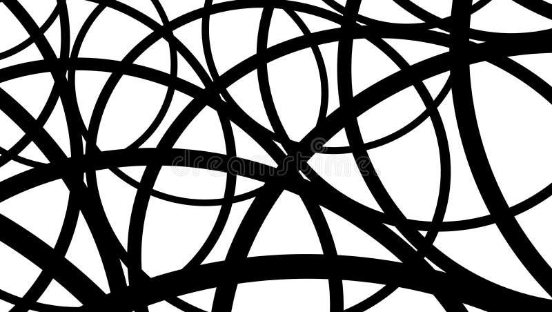 Μαύρο λευκό γραμμών αφαίρεσης στο γραμμικό ύφος στο άσπρο υπόβαθρο Αφηρημένη απομονωμένη διάνυσμα απεικόνιση Χέρι που σύρεται απεικόνιση αποθεμάτων