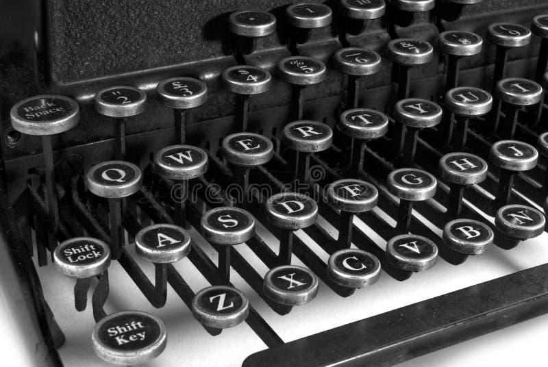 μαύρο λευκό γραφομηχανών πληκτρολογίων στοκ εικόνα