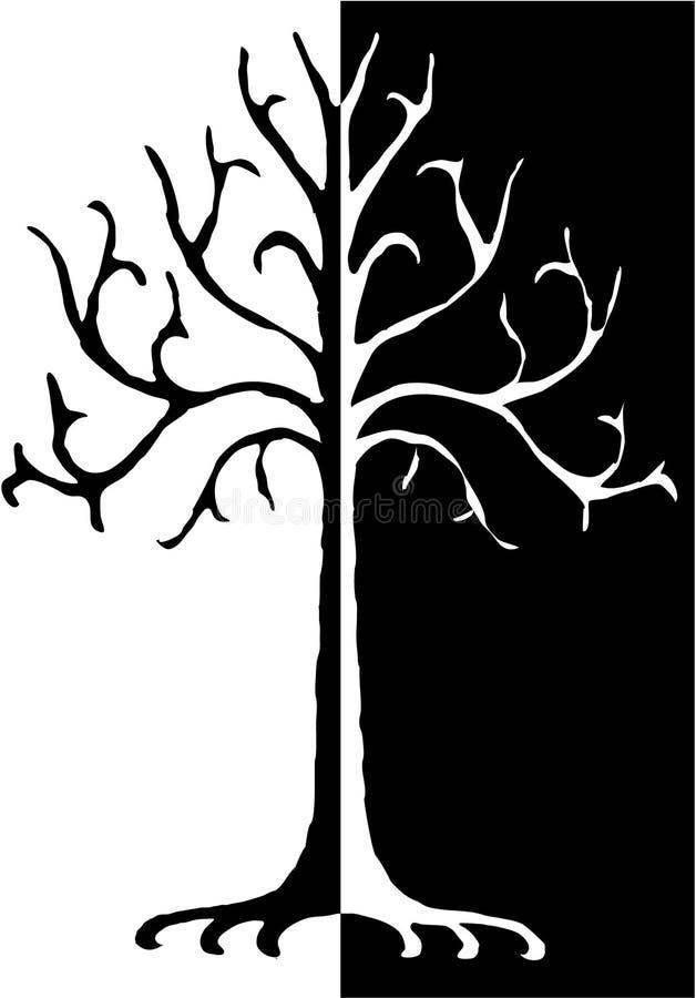 μαύρο λευκό δέντρων απεικό ελεύθερη απεικόνιση δικαιώματος