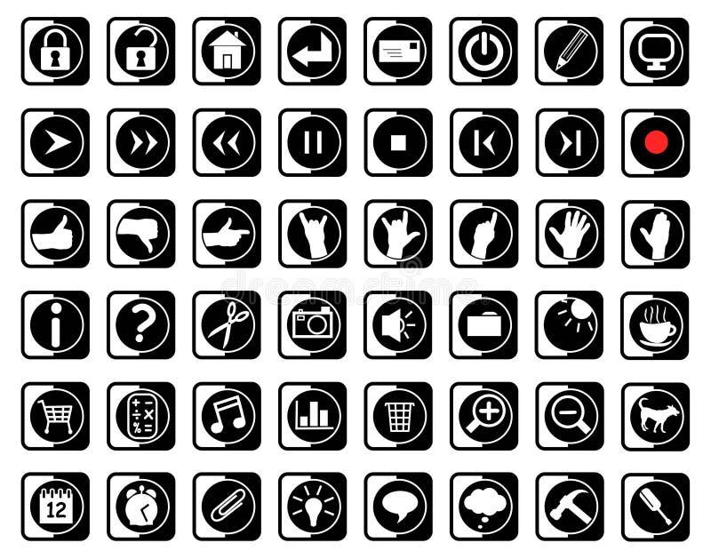 μαύρο λευκό εικονιδίων απεικόνιση αποθεμάτων