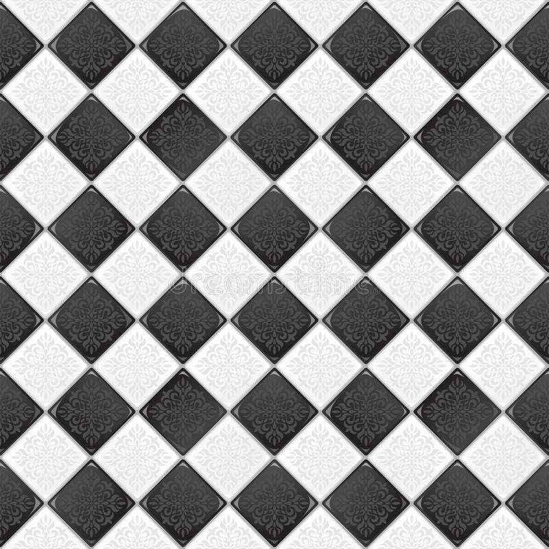 μαύρο λευκό κεραμιδιών απεικόνιση αποθεμάτων