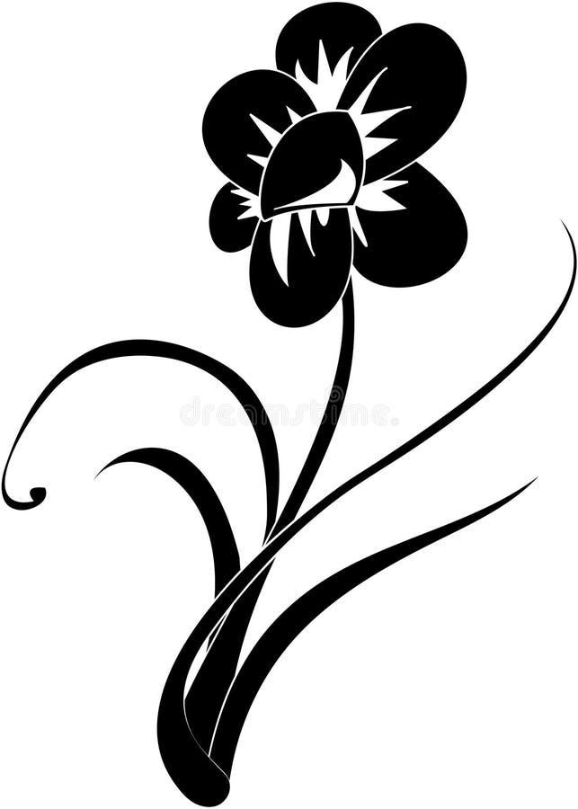 μαύρο λευκό λουλουδιών διανυσματική απεικόνιση