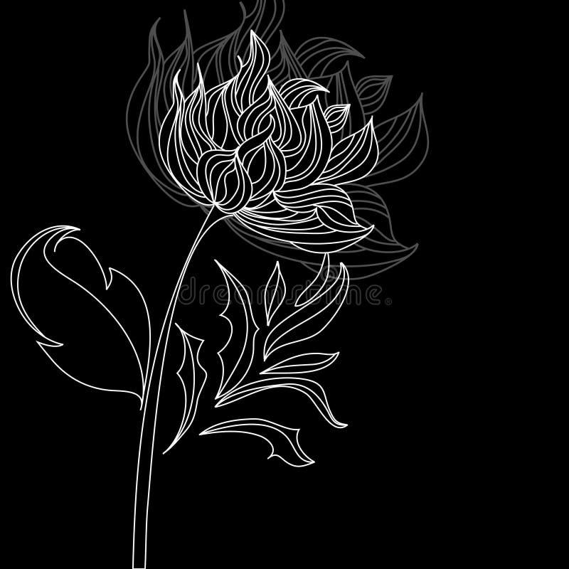 μαύρο λευκό λουλουδιώ&n απεικόνιση αποθεμάτων