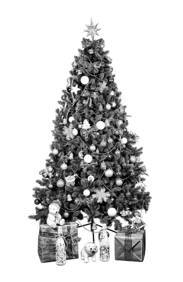 μαύρο λευκό Χριστούγεννα, νέο Ywar, διακοπές Διακοσμημένος, χριστουγεννιάτικο δέντρο, πολύχρωμες σφαίρες στοκ εικόνα