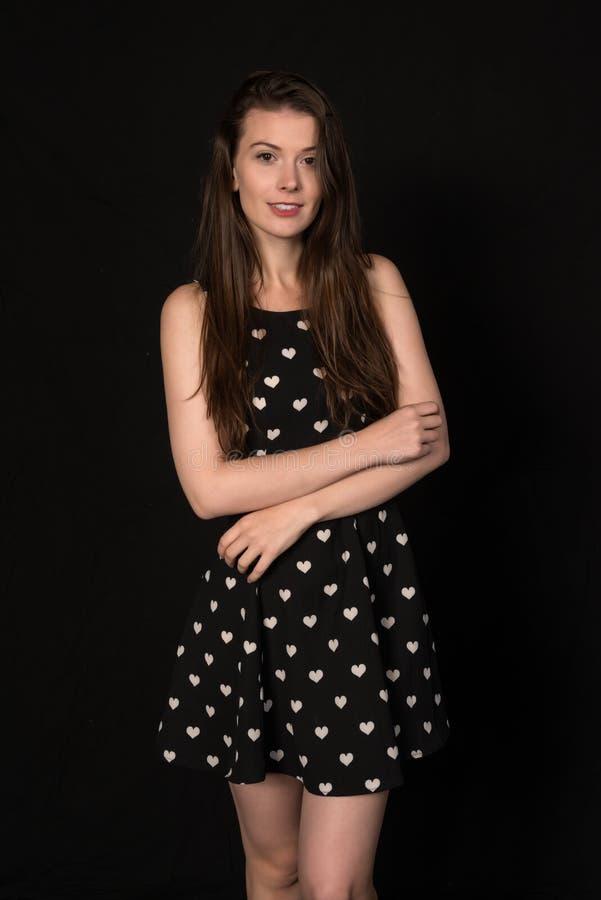 μαύρο λευκό brunette στοκ εικόνες με δικαίωμα ελεύθερης χρήσης