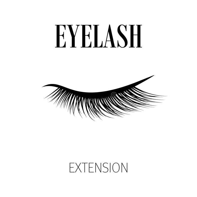 Μαύρο λογότυπο επέκτασης eyelash στο άσπρο υπόβαθρο επίσης corel σύρετε το διάνυσμα απεικόνισης απεικόνιση αποθεμάτων