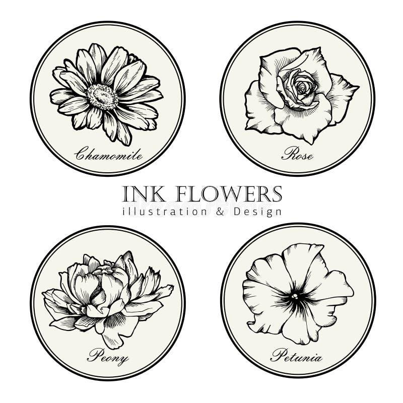 Μαύρο λουλούδι σκίτσων ύφους γραμμών μελανιού Χρωματισμένα χέρι λουλούδια καθορισμένα ελεύθερη απεικόνιση δικαιώματος