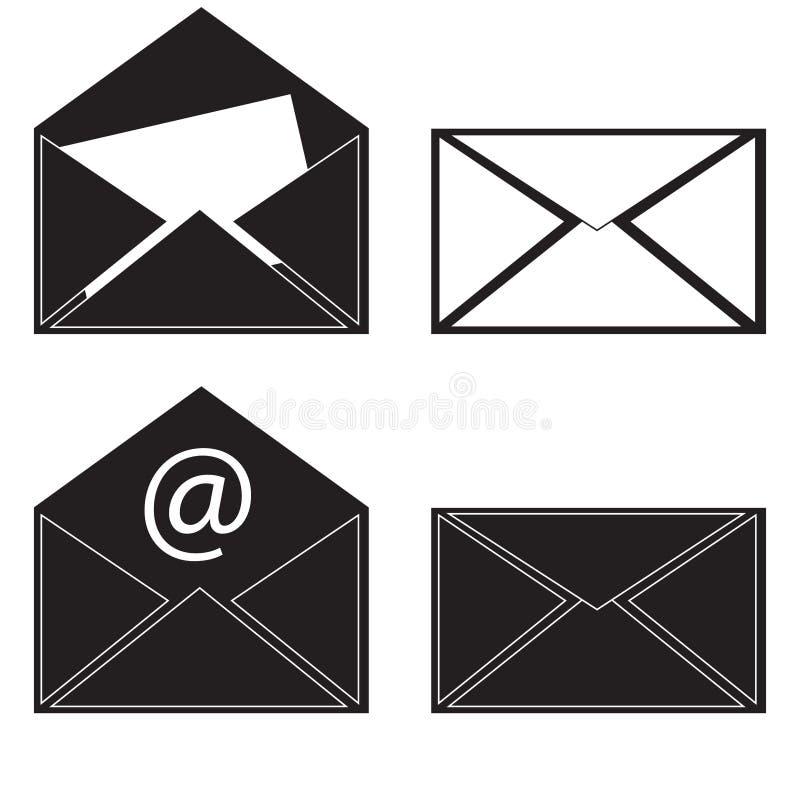 Μαύρο μήνυμα ταχυδρομείου εικονιδίων διάνυσμα ελεύθερη απεικόνιση δικαιώματος
