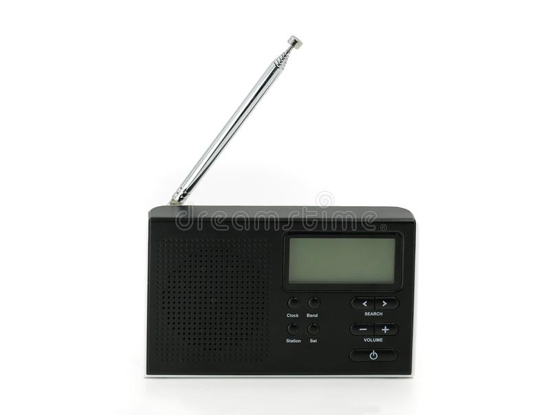 Μαύρο μίνι ραδιόφωνο που απομονώνεται στο άσπρο υπόβαθρο στοκ εικόνα