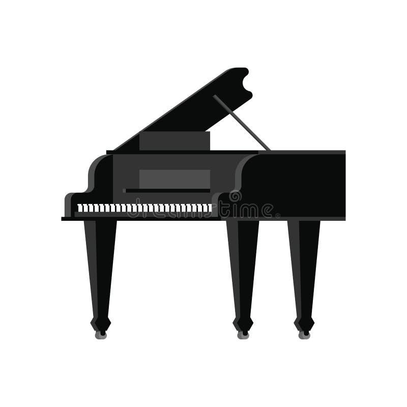 Μαύρο μεγάλο πιάνο που απομονώνεται Μουσικό διανυσματικό illustrati οργάνων ελεύθερη απεικόνιση δικαιώματος