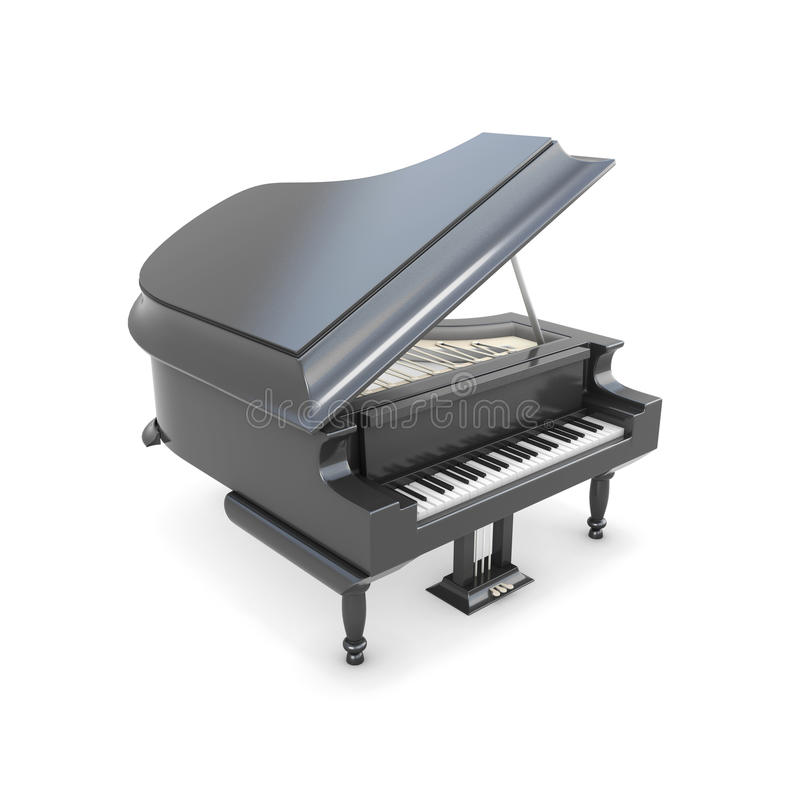Μαύρο μεγάλο πιάνο σε ένα λευκό ελεύθερη απεικόνιση δικαιώματος