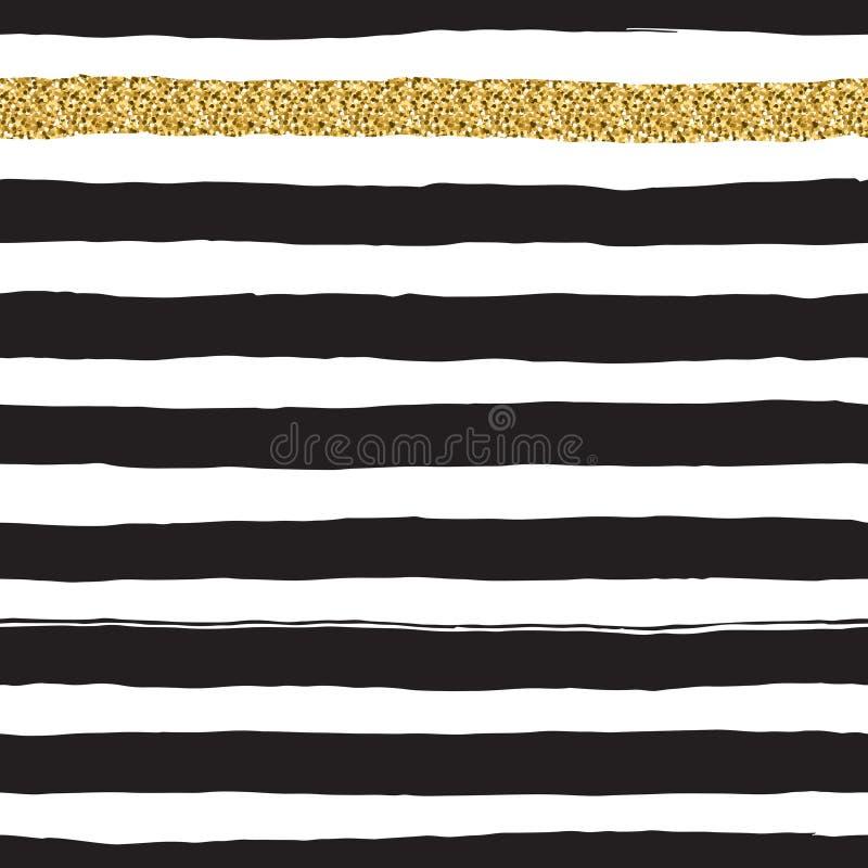 Μαύρο μελάνι και άσπρο, χρυσό διανυσματικό άνευ ραφής παχύ σχέδιο λωρίδων απεικόνιση αποθεμάτων