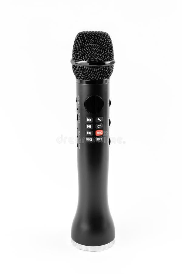 Μαύρο μικρόφωνο καραόκε με τους ενσωματωμένους ομιλητές στοκ φωτογραφία με δικαίωμα ελεύθερης χρήσης