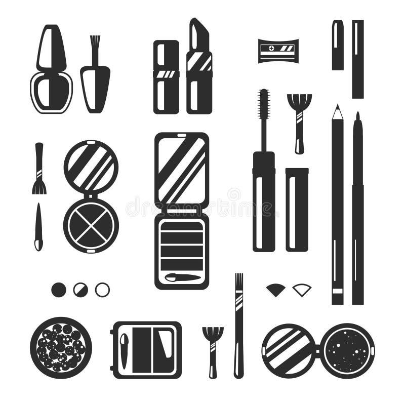 Μαύρο μονοχρωματικό σύνολο διακοσμητικών καλλυντικών, διανυσματική επίπεδη απεικόνιση Κατάστημα ομορφιάς, κατάστημα διανυσματική απεικόνιση