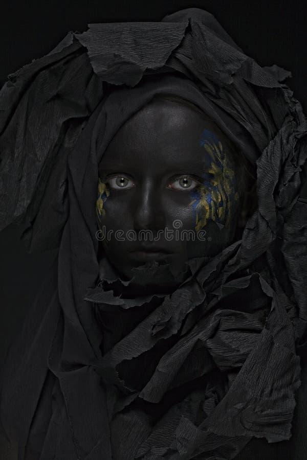 μαύρο μοντέλο προσώπου στοκ φωτογραφίες