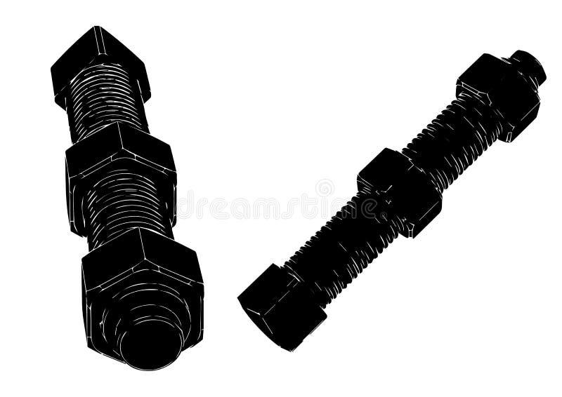 Μαύρο μπουλόνι με ένα καρύδι σε ένα λευκό απεικόνιση αποθεμάτων