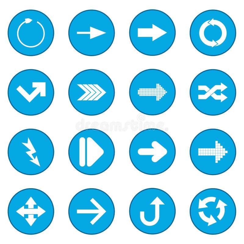 Μαύρο μπλε εικονιδίων σημαδιών βελών διανυσματική απεικόνιση