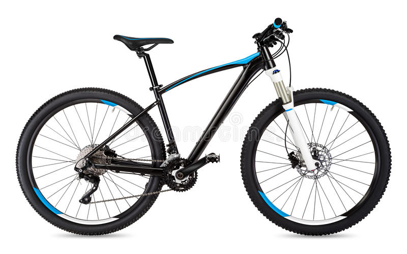 Μαύρο μπλε ποδήλατο βουνών στοκ φωτογραφία