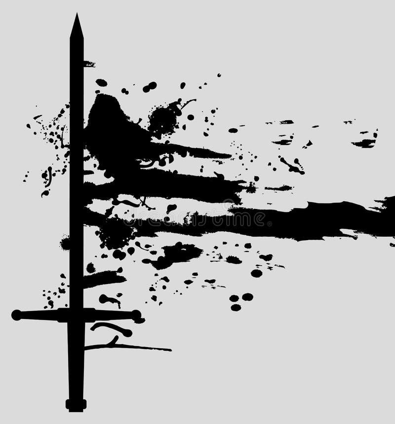 μαύρο ξίφος τέχνης διανυσματική απεικόνιση