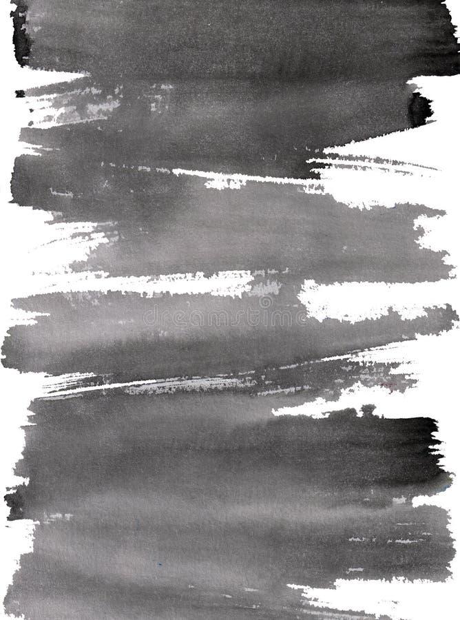 Μαύρο ξηρό καλλιγραφικό dinamic brushstroke μελανιού απεικόνιση αποθεμάτων