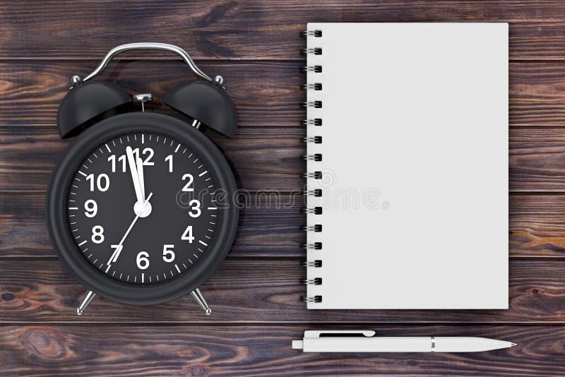 Μαύρο ξυπνητήρι με τη μάνδρα και κενό σημειωματάριο για το σχέδιό σας τρισδιάστατος στοκ φωτογραφίες με δικαίωμα ελεύθερης χρήσης
