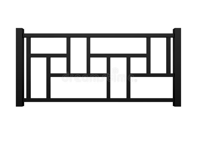 Μαύρο ξύλινο κιγκλίδωμα με την ξύλινη τρισδιάστατη απόδοση κάγγελων διανυσματική απεικόνιση