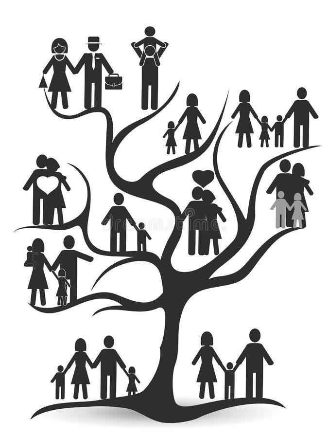 Μαύρο οικογενειακό δέντρο ελεύθερη απεικόνιση δικαιώματος