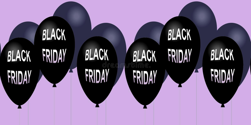 Μαύρο οριζόντιο έμβλημα πώλησης Παρασκευής Πετώντας στιλπνά μπαλόνια ελεύθερη απεικόνιση δικαιώματος