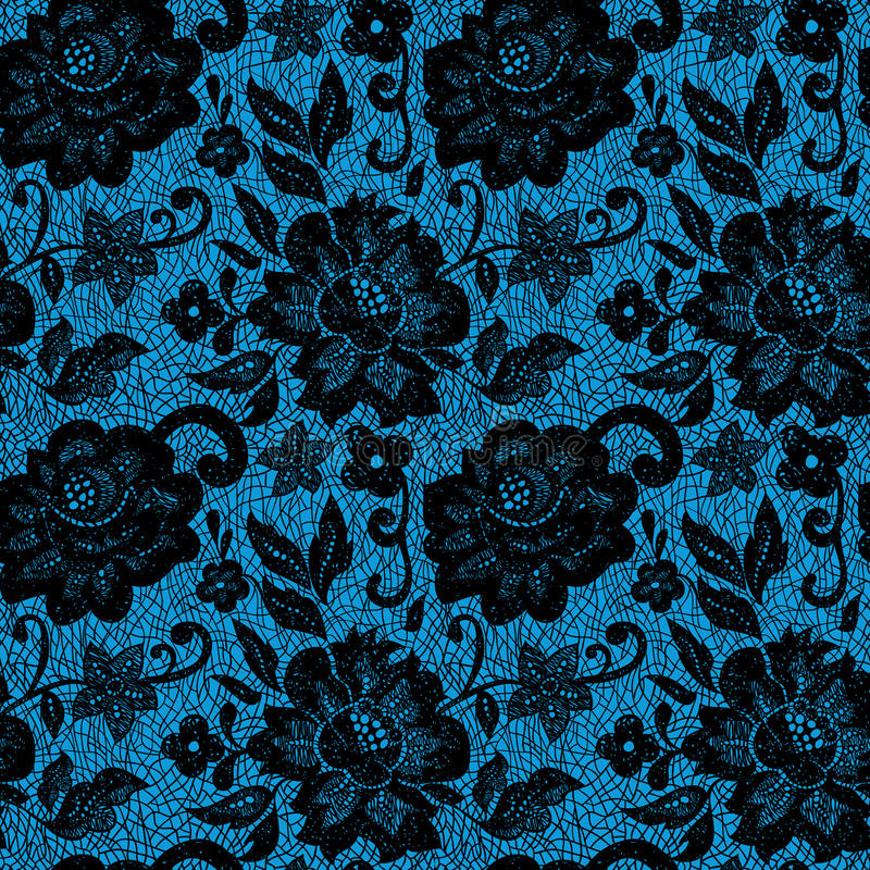 Μαύρο λουλούδι δαντελλών στο μπλε απεικόνιση αποθεμάτων