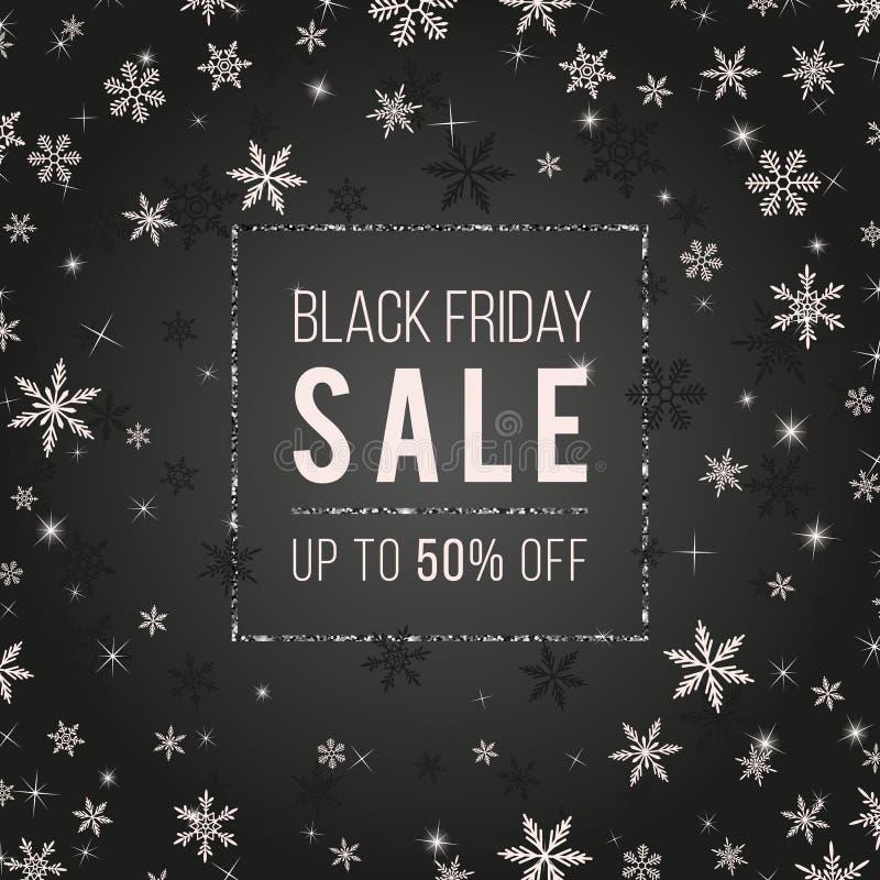 Μαύρο Παρασκευής σχέδιο εμβλημάτων πώλησης διανυσματικό με snowflakes, αστέρια, σπινθηρίσματα ελεύθερη απεικόνιση δικαιώματος