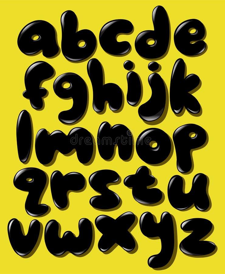 Μαύρο πεζό αλφάβητο φυσαλίδων απεικόνιση αποθεμάτων