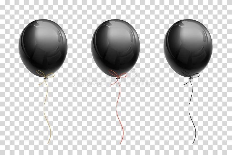 Μαύρο πετώντας μπαλόνι με τις κορδέλλες του χρυσού, κόκκινο, μαύρο στο α δια ελεύθερη απεικόνιση δικαιώματος