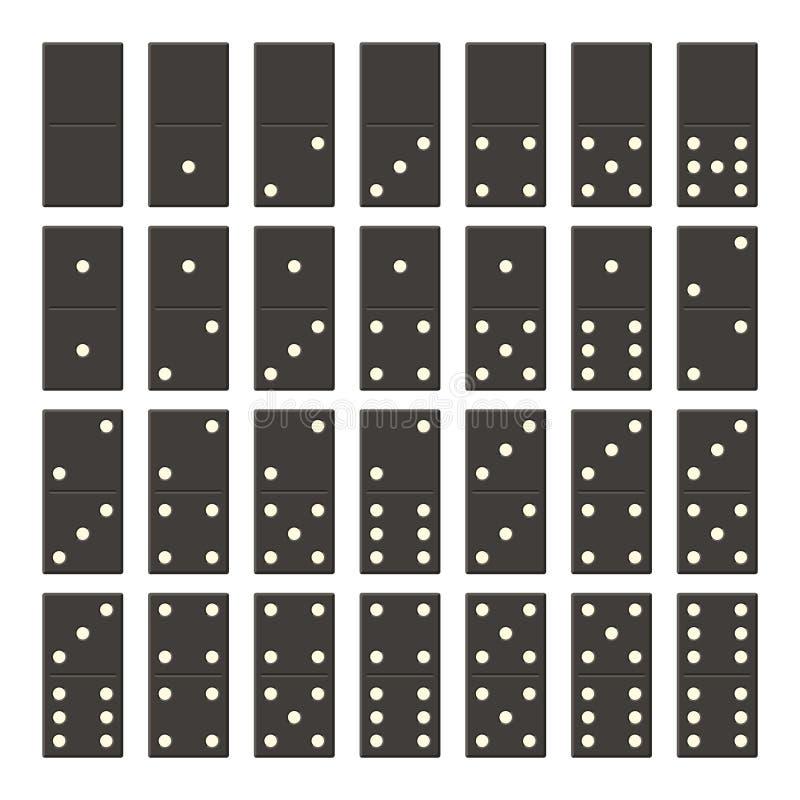 Μαύρο πλήρες σύνολο ντόμινο Κλασικά ντόμινο παιχνιδιών στο επίπεδο ύφος Τα κόκκαλα ντόμινο θέτουν 28 κομμάτια διανυσματική απεικόνιση