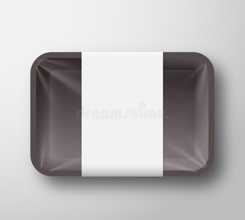 Μαύρο πλαστικό εμπορευματοκιβώτιο δίσκων τροφίμων με τη διαφανή κάλυψη σελοφάν και το σαφές άσπρο πρότυπο ετικετών Ρεαλιστική συσ διανυσματική απεικόνιση