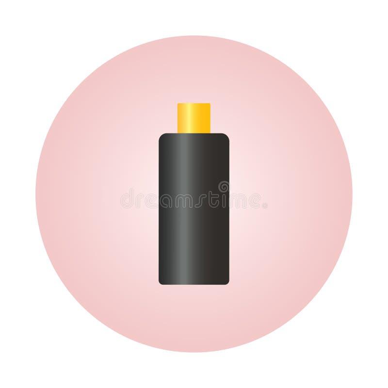 Μαύρο πλαστικό στυλ φιάλης, στρογγυλό, με λεπτές μεμβράνες με ραβδώσεις για καλλυντικά, άρωμα, αποσμητικό, φρέσκο Έτοιμο ελεύθερη απεικόνιση δικαιώματος