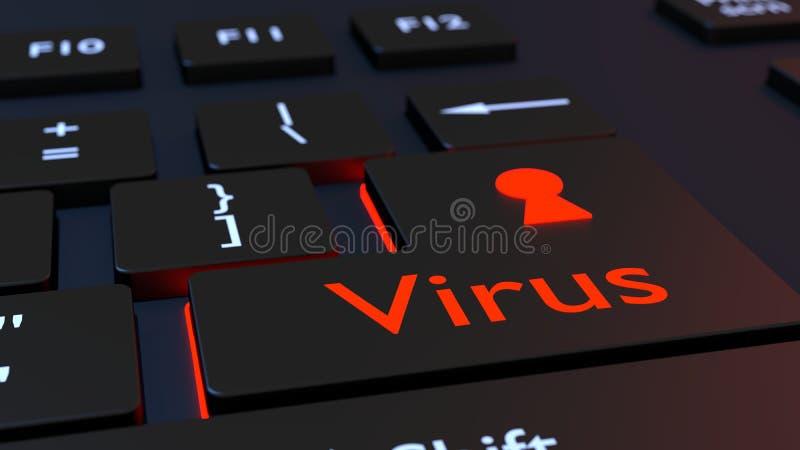 Μαύρο πληκτρολόγιο ιών με το εικονίδιο κλειδαροτρυπών ελεύθερη απεικόνιση δικαιώματος