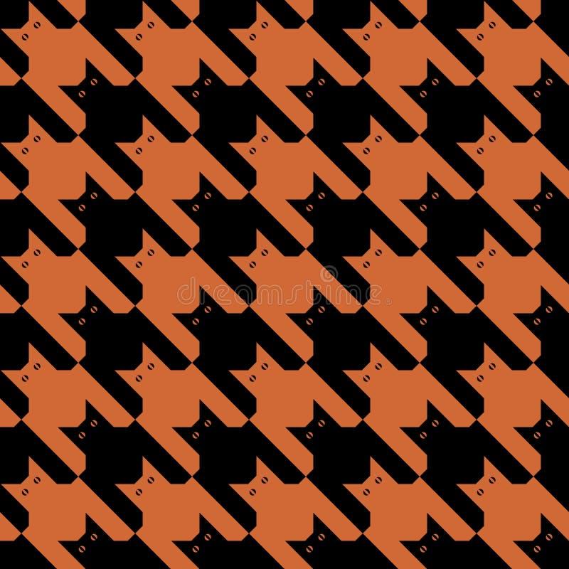 μαύρο πορτοκαλί πρότυπο catstooth διανυσματική απεικόνιση