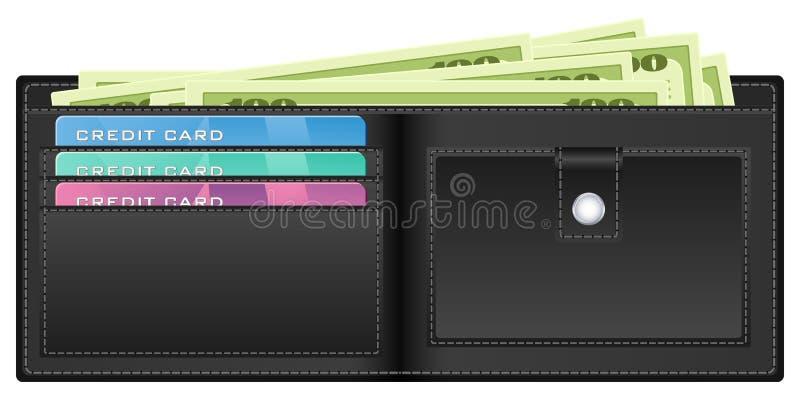 μαύρο πορτοφόλι χρημάτων διανυσματική απεικόνιση