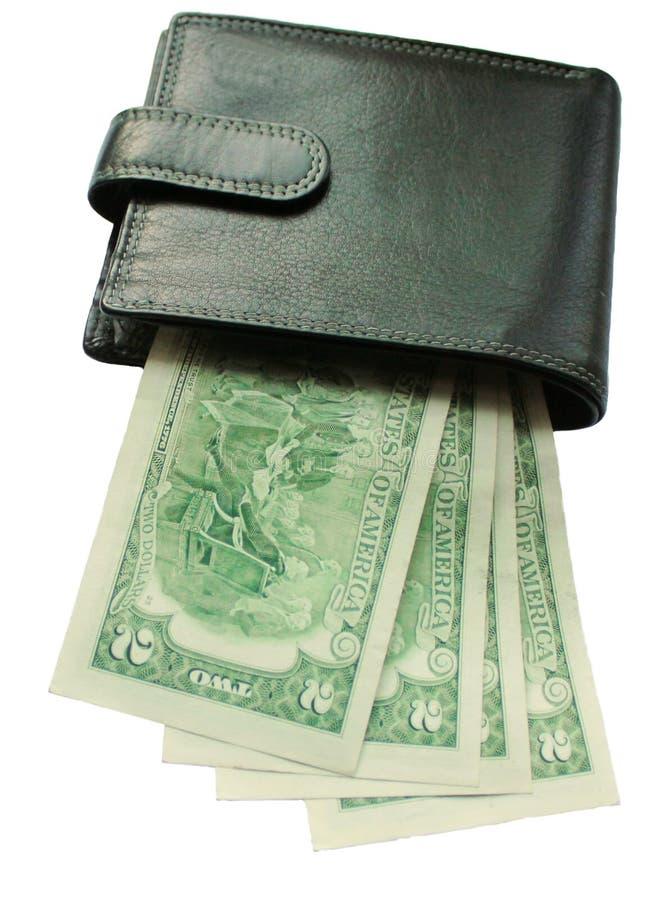 Μαύρο πορτοφόλι με τα τραπεζογραμμάτια δύο δολάρια που απομονώνονται στοκ εικόνες με δικαίωμα ελεύθερης χρήσης